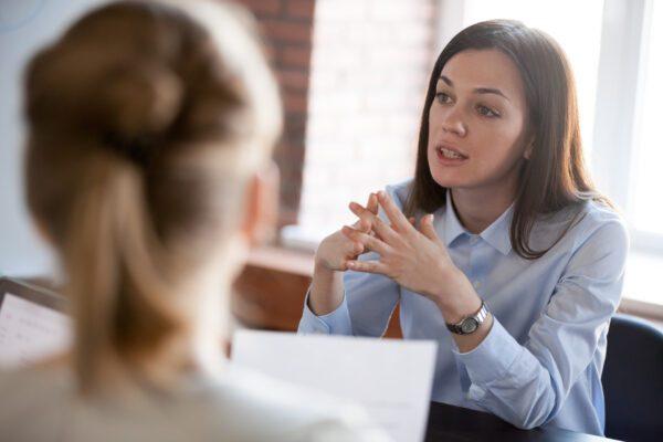 businesswoman interviewing new